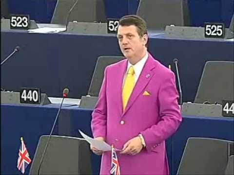 Pretty in pink - Gerard Batten surrounded by his supporters in the European Parliament