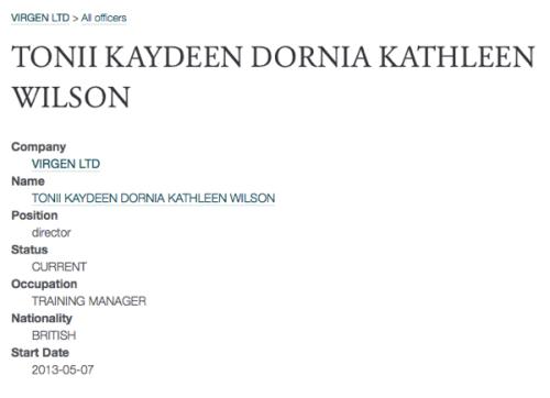 Tonii Wilson directorship