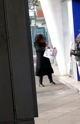 Aleen Alarice leafletting outside Stratford station