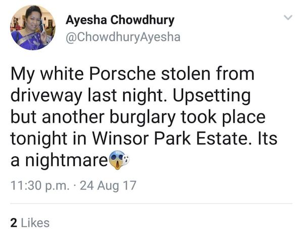 Ayesha Porsche Tweet