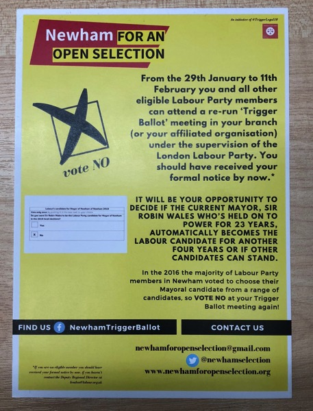 Newham for an open seelction campaign leaflet