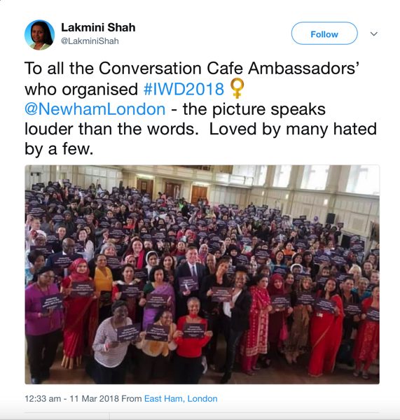 Lakmini Shah's international women's day tweet with photo