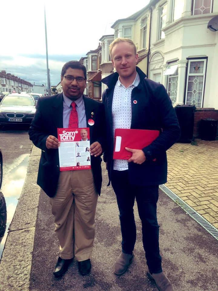 Cllr Nazir Ahmed campaigning in 2019