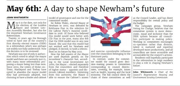 Newham Voices  May 6th by John Whitworth