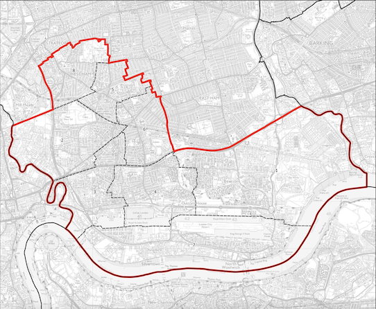 West Ham and Beckton map